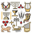 israel symbols of judaism religion jewish culture vector image vector image