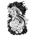 japanese wave with peony and daisy vector image vector image