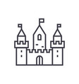 kingdom castle wtih three towers line icon vector image