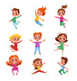 lovely kids happily jumping set cute preschool vector image vector image
