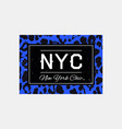 nyc slogan typography on leopard pattern vector image vector image