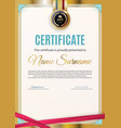 official white certificate with gold border and vector image