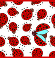 pattern with simple ladybugs vector image