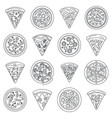 pizza slice icon set outline style vector image vector image