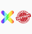 rainbow colored dotted x-cross icon and vector image vector image
