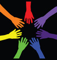 rainbow with hands vector image vector image