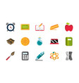 school and education supplies icons set vector image vector image