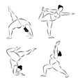 set of plus size flexible sporty woman doing yoga vector image