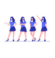 set young woman character poses in blue modern vector image vector image