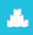 Stack toilet paper isolated on blue background