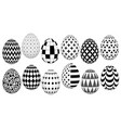 stylish set of easter eggs with geometric pattern vector image