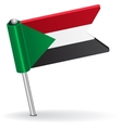 Sudan pin icon flag vector image vector image