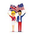 usa and uk flag waving people vector image vector image