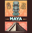 vintage colored ancient maya poster vector image vector image