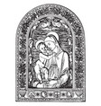 virgin mary and jesus vintage vector image vector image