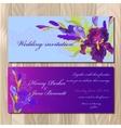 Wedding invitation card with purple iris flower vector image