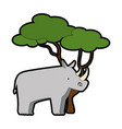wild rhinoceros with tree vector image vector image