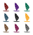 windsurf board icon in black style isolated on vector image vector image