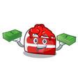 with money bag red velvet mascot cartoon vector image vector image
