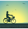 woman on a bicycle vector image vector image