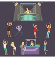 Young Happy People Dancing In Night Club And vector image vector image