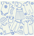 Baby clothes doodles on school squared paper vector image