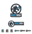 night wolf identity roar wolf with the moon shape vector image