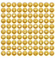 100 diving icons set gold vector image vector image