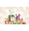 a banner banner with a pile boxes with gifts vector image vector image