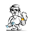 alcoholic with beer bottle in hand vector image