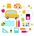 Back to school accessories set isolated on white vector image
