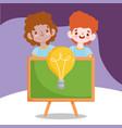 back to school student boys chalkboard creativity vector image vector image
