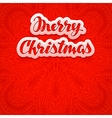 Beautiful text lettering Merry Christmas on red vector image