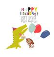 birthday card with cute animals celebrating