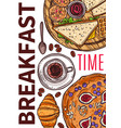breakfast time hand drawn poster vector image vector image
