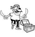 Cartoon Pirate with treasure vector image