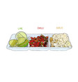 chopped garlic lime and sliced chilli for sauce vector image