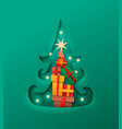 christmas pine tree paper cut with gift isolated vector image