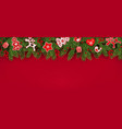 christmas tree border realistic fir branches toys vector image