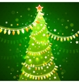 Christmas tree on a dark green background vector image