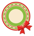 Circle Christmas Label Icon Flat with Bow Isolated vector image