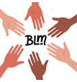 circle hands diverse unity togetherness black vector image vector image
