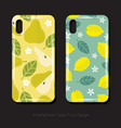 cover smartphone pear lemon leaves fruits flowers vector image vector image
