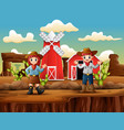 cowboy and cowgirl in front farm western landscape vector image vector image