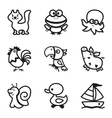 Easy Coloring drawings of animals icon set vector image vector image
