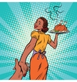 follow me African-American housewife with roast vector image vector image