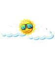 fun sun with sunglasses vector image vector image