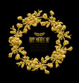 golden floral wreath vector image