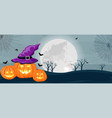 halloween forest with pumpkins witch hat and vector image vector image