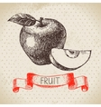 Hand drawn sketch fruit apple Eco food background vector image vector image